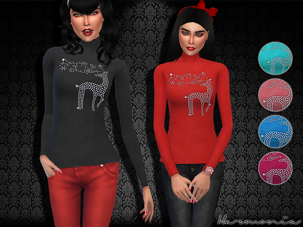Reindeer Rhinestone Bling Turtleneck Tee Shirt by Harmonia at TSR image 3425 Sims 4 Updates