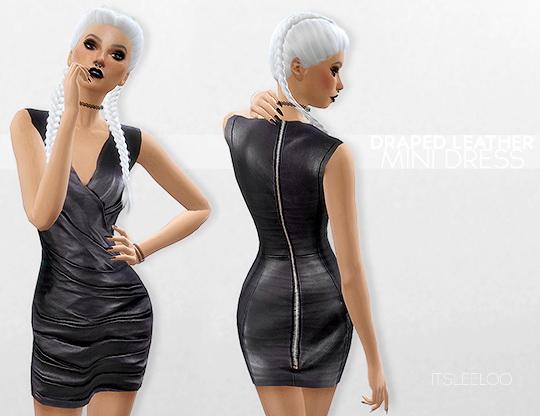 Sims 4 DRAPED LEATHER MINI DRESS at Leeloo