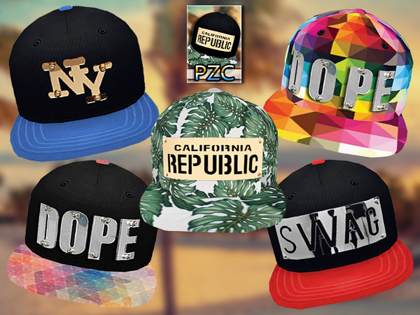 Sims 4 PZC Hipster Collection Snapback 01 by Pinkzombiecupcakes at TSR