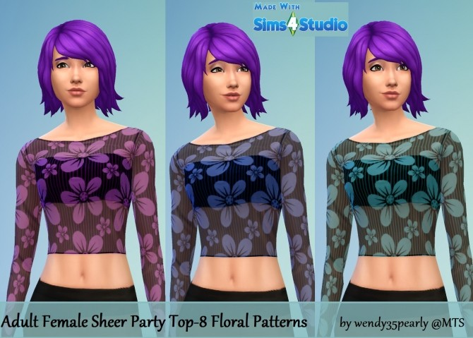 Sheer Party Top 8 Floral Set by wendy35pearly at Mod The Sims image 3618 670x479 Sims 4 Updates