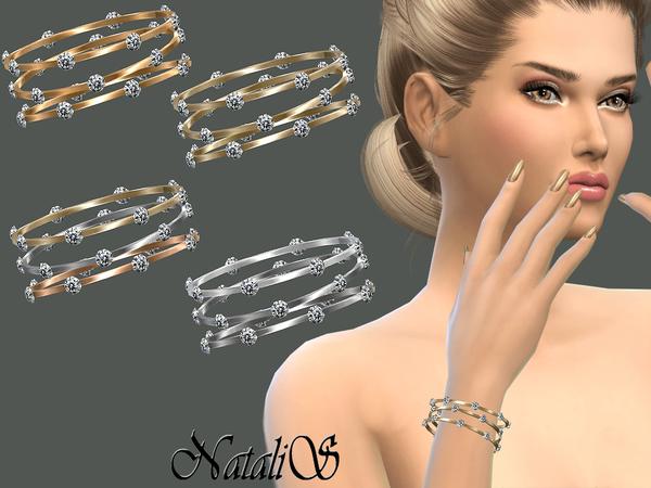 Sleek bangles with crystals by NataliS at TSR image 3710 Sims 4 Updates