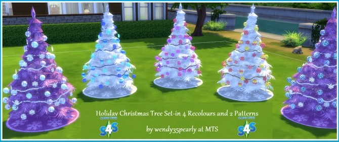 Sims 4 4 Recoloured Holiday Christmas Tree Set by wendy35pearly at Mod The Sims