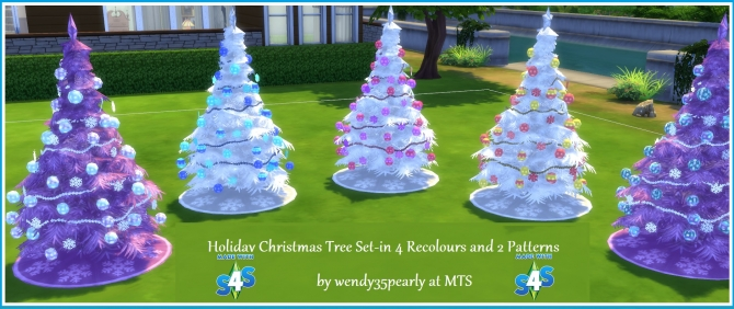 4 Recoloured Holiday Christmas Tree Set By Wendy35pearly