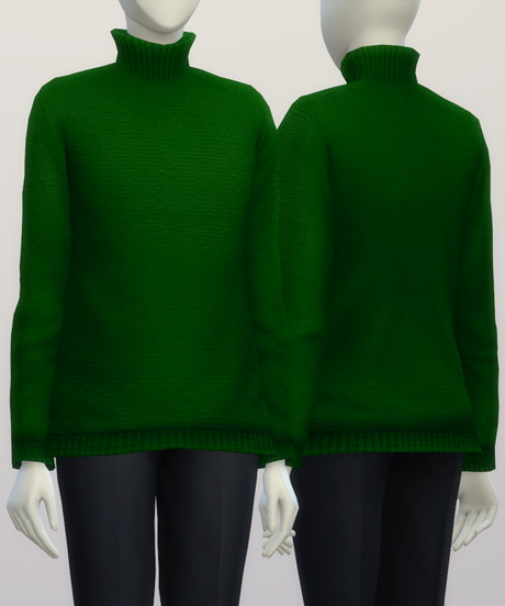 Turtleneck sweater F solid (16 colors) at Rusty Nail image 372 Sims 4 Updates
