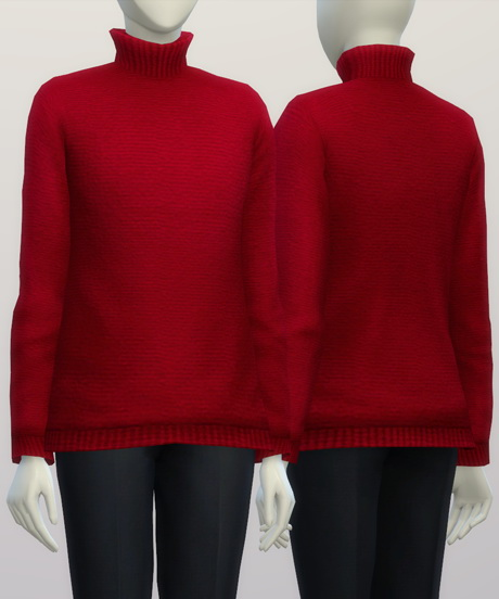 Turtleneck sweater F solid (16 colors) at Rusty Nail image 382 Sims 4 Updates