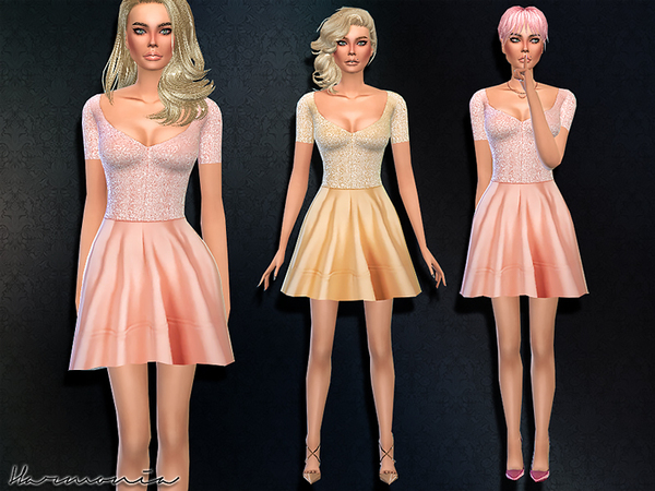 Sequin Bodice Skater Dress by Harmonia at TSR image 3821 Sims 4 Updates