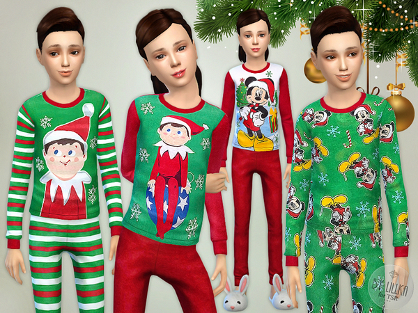 Sims 4 Christmas Pajama Set by lillka at TSR