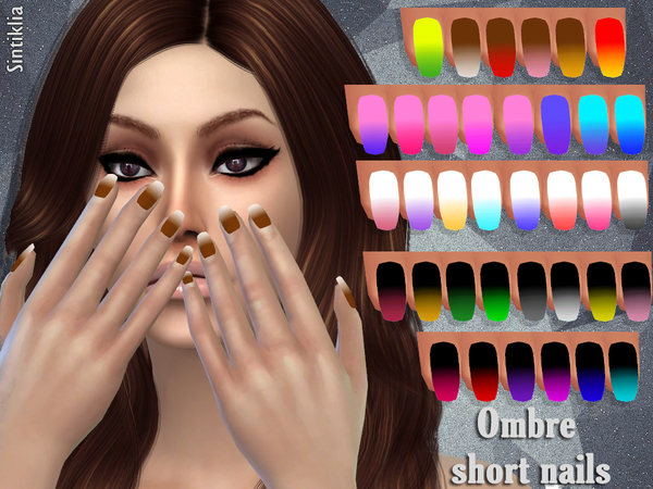 Sims 4 Short ombre nails by Sintiklia at TSR