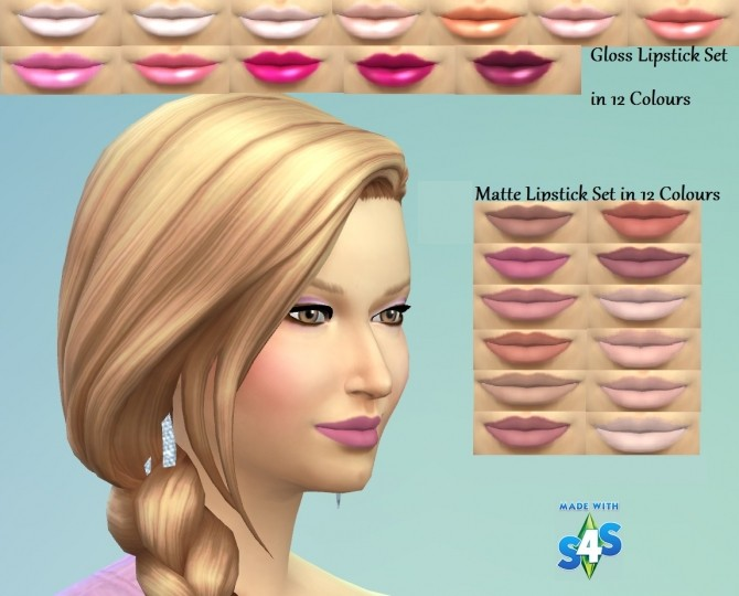 12 Glossy and 12 Matte lipsticks by wendy35pearly at Mod The Sims image 4030 670x540 Sims 4 Updates