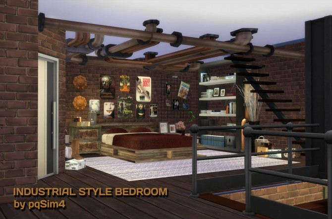 Industrial style bedroom at pqsims4 sims 4 updates - Industrial style bedroom furniture ...