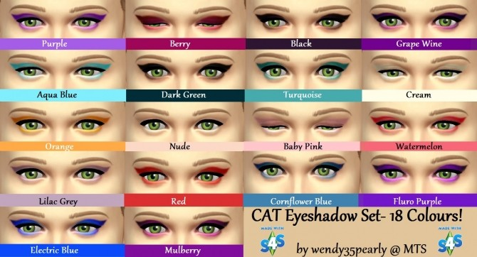 CAT Eyeshadow Set 18 Colours by wendy35pearly at Mod The Sims image 4428 670x362 Sims 4 Updates