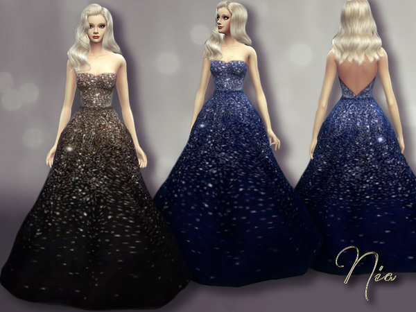 Sims 4 Olivia Wildes Sequined Gown by Nia at TSR