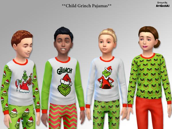 Sims 4 Child Holiday Pajama Set 2 (Grinch) by ArtGeekAJ at TSR