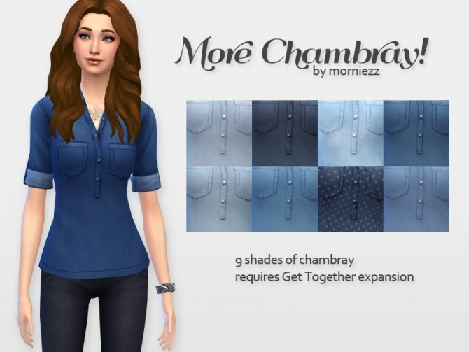 Sims 4 Chambray shirts by morniezz at Mod The Sims