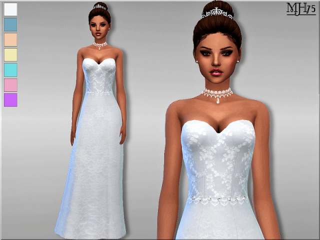 Sims 4 Wedding Day Dress by Margie at Sims Addictions