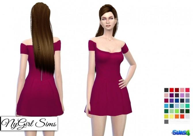 Sims 4 Off Shoulder Skater Dress at NyGirl Sims