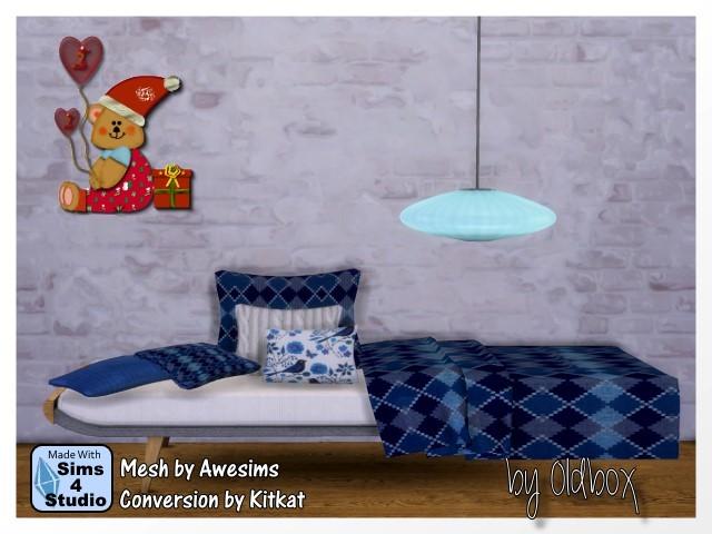 Sims 4 Sofa, pillow, blanket and lamp by Oldbox at All 4 Sims