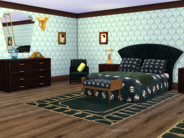 Art deco bedroom by shinokcr at tsr sims 4 updates for Bedroom designs sims 4
