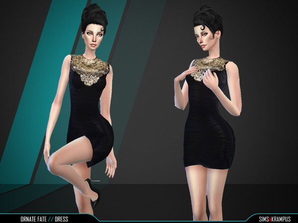 Sims 4 Ornate Fate Dress by SIms4Krampus at TSR