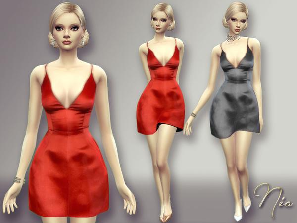 Sims 4 Satin Dress by Nia at TSR