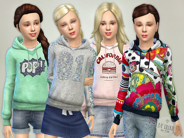Sims 4 Hoodie for Girls P01 by lillka at TSR