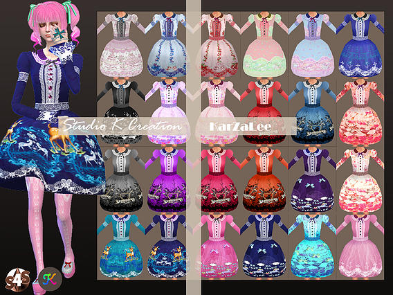 Sims 4 BloodyLilith Lolita Candydress at Studio K Creation