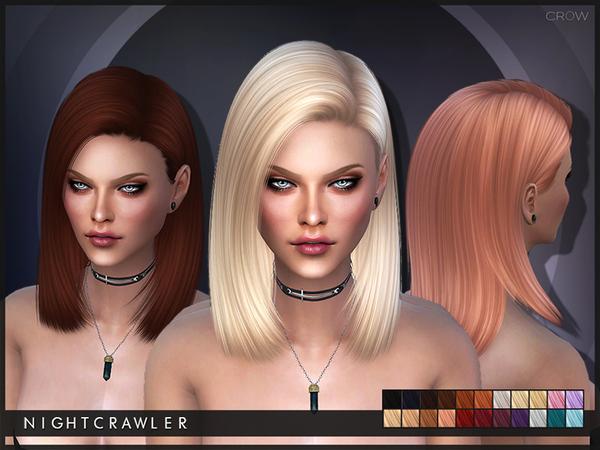 Sims 4 Crow hair by Nightcrawler at TSR