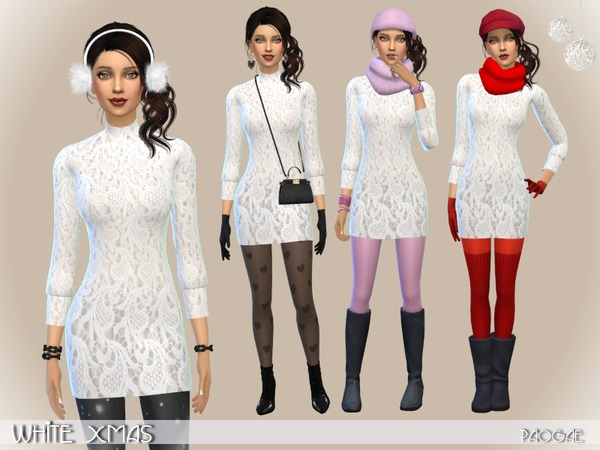 Sims 4 White Xmas dress by Paogae at TSR