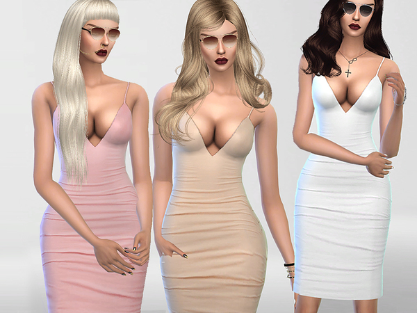Sims 4 Christmas Party Bodycon Dress by Pinkzombiecupcakes at TSR