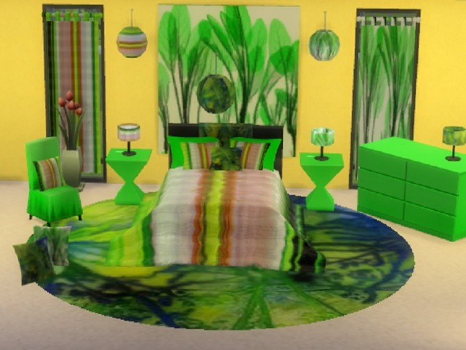 Sims 4 Ikea lime bedroom set at Trudie55