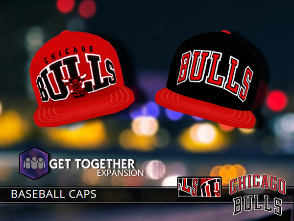 Chicago Bulls Caps by Pinkzombiecupcakes at TSR image 7723 Sims 4 Updates