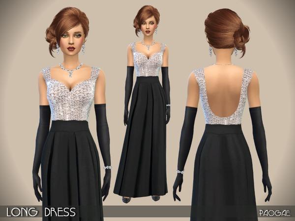 Sims 4 Long Dress by Paogae at TSR