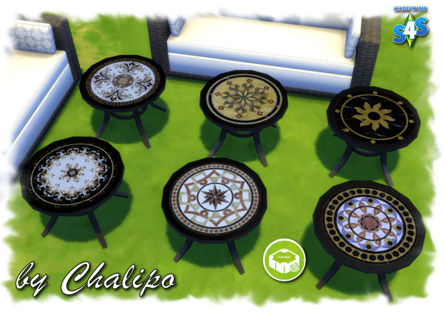 Sims 4 Round garden table recolors by Chalipo at All 4 Sims