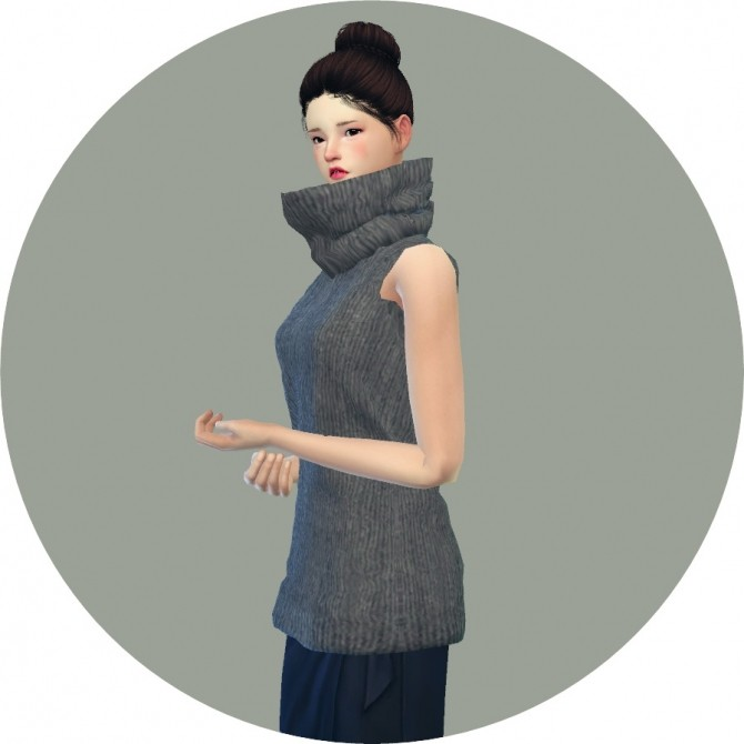 Sims 4 Tight turtleneck long sweater sleeveless at Marigold