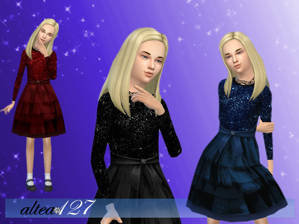 Sims 4 Bright Night child dress by altea127 at TSR