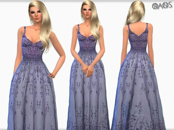 Sims 4 Violet Embroidered Tulle V Neck Ball Gown by OranosTR at TSR