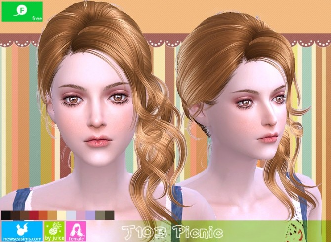 Sims 4 J103 Picnic hair (FREE) at Newsea Sims 4