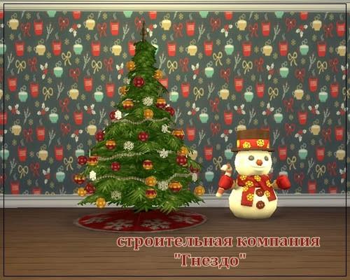 Sims 4 Christmas walls 01 at Sims by Mulena