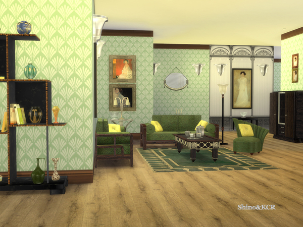 Sims 4 Art Deco Livingroom by ShinoKCR at TSR