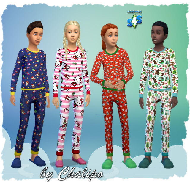 Pajamas for kids by Chalipo at All 4 Sims » Sims 4 Updates