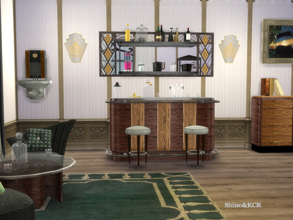 Art Deco Home Bar by ShinoKCR at TSR image 1008 Sims 4 Updates