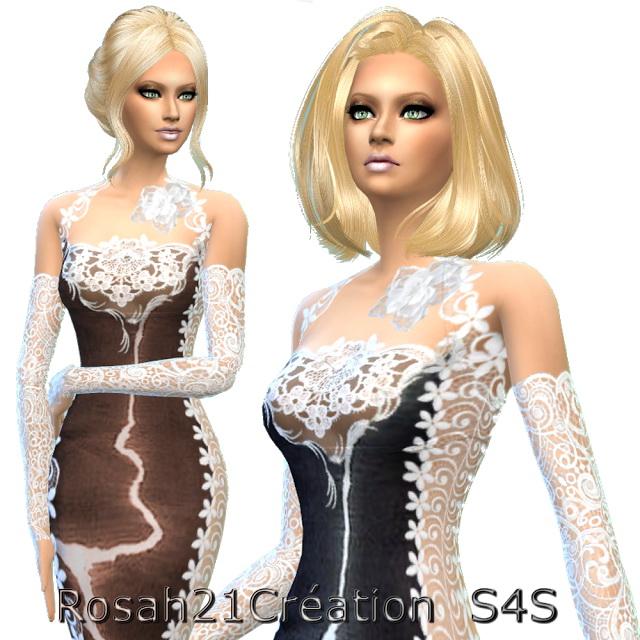 Sims 4 Illusion dress by Rosah21 at Sims Dentelle
