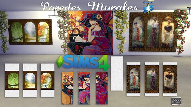 Sims 4 Walls with murals at El Taller de Mane