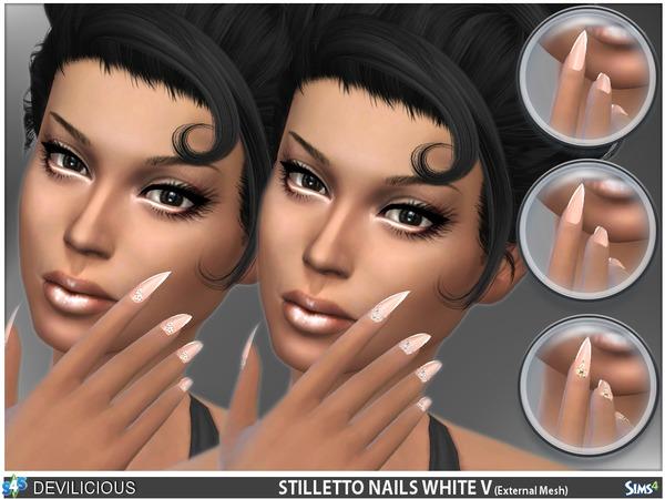 Stiletto Nails White V by Devilicious at TSR image 1098 Sims 4 Updates