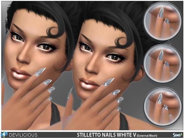Stiletto Nails White V by Devilicious at TSR image 11010 Sims 4 Updates
