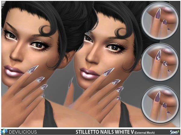 Stiletto Nails White V by Devilicious at TSR image 11112 Sims 4 Updates