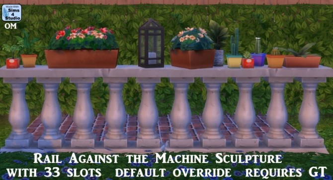 Sims 4 Rail against the machine sculpture with 33 slots at Sims 4 Studio