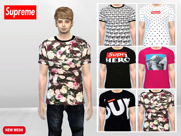 Sims 4 Large Supreme T shirts by McLayneSims at TSR