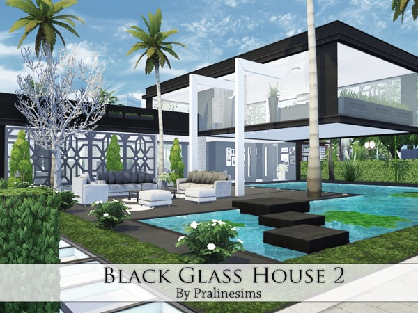 black glass house 2 by pralinesims at tsr sims 4 updates. Black Bedroom Furniture Sets. Home Design Ideas