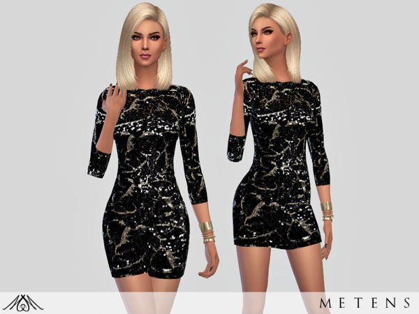 Sims 4 Black Sand Dress by Metens at TSR